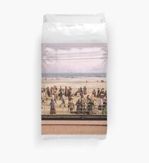 Along the beach, Atlantic City, NJ 1905 Colorized Duvet Cover