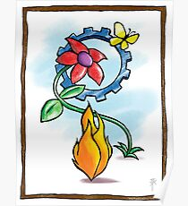 Flower Flame Gear Butterfly Poster