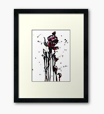 watercolor, ink, and acrylic rose Framed Print