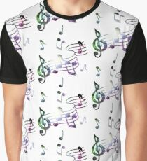 Galaxy Music Notes Graphic T-Shirt