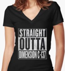 Rick and Morty - Straight Outta Dimension C-137 Women's Fitted V-Neck T-Shirt