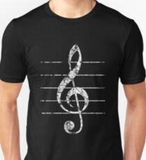 G-Clef, Treble Clef with Lines Vintage White Unisex T-Shirt