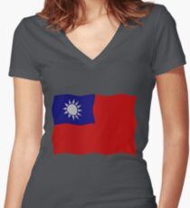 Taiwan flag Women's Fitted V-Neck T-Shirt