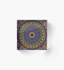 Kaleidoscope 4 abstract stained glass mandala pattern Acrylic Block
