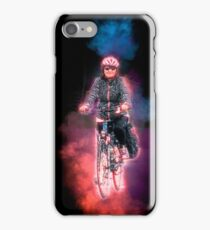 Digitally enhanced image Of a woman riding a bicycle  iPhone Case/Skin