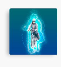 Digitally enhanced image Of a woman riding a bicycle  Canvas Print