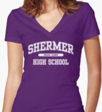Shermer High School (White) Women's Fitted V-Neck T-Shirt