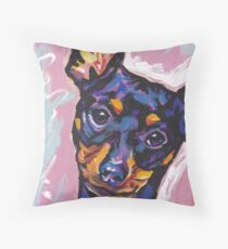 Miniature Pinscher Dog Bright colorful pop dog art Throw Pillow