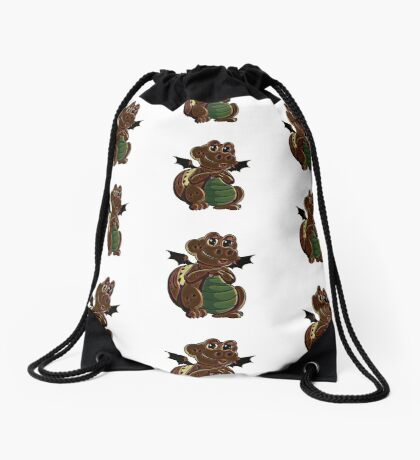 Chocolate happy dragon pattern Drawstring Bag