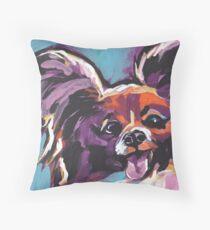 Papillon Dog Bright colorful pop dog art Throw Pillow