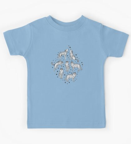 Wolves and Stars on White Kids Clothes