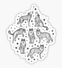 Wolves and Stars on White Sticker