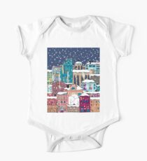 Doodle town in winter One Piece - Short Sleeve