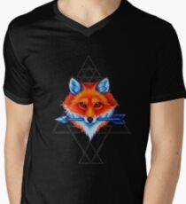 Geometry fox Mens V-Neck T-Shirt