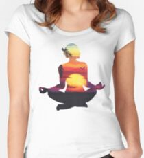Yoga Woman Sunset Silhouette Women's Fitted Scoop T-Shirt