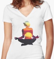 Yoga Woman Sunset Silhouette Women's Fitted V-Neck T-Shirt