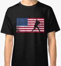 Baseball Batter American Flag Cool Gift Classic T-Shirt