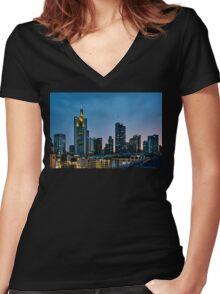 Frankfurt Skyscrapers Women's Fitted V-Neck T-Shirt