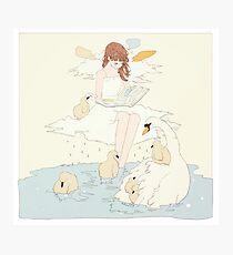 swan sitting. Photographic Print