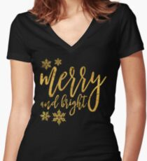 merry and bright gold Women's Fitted V-Neck T-Shirt