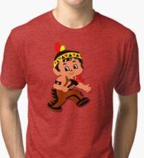 Cute retro Kid Billy as a Native Indian Tri-blend T-Shirt