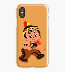 Cute retro Kid Billy as a Native Indian iPhone Case