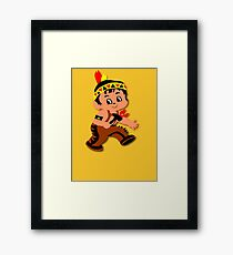 Cute retro Kid Billy as a Native Indian Framed Print