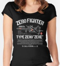 A6M Zero Zeke Imperial Japanese Nay Air Service Fighter Aircraft Plane World War 2 Women's Fitted Scoop T-Shirt