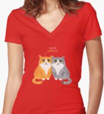 Purretty Kitties - Cute Cat Couple / Buddies Women's Fitted V-Neck T-Shirt