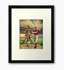 Vintage Baseball Player - Cool Retro Sports Color Poster Shirts And Gifts Framed Print