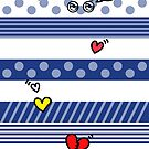 Blue Stripes with hearts by beatbeatwing