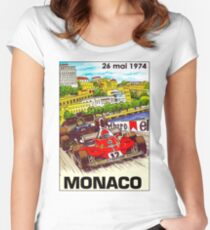 MONACO; Vintage Grand Prix Auto Print Women's Fitted Scoop T-Shirt