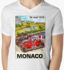 MONACO; Vintage Grand Prix Auto Print Mens V-Neck T-Shirt