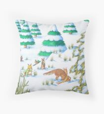 cute fox and rabbits christmas snow scene Throw Pillow
