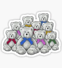 Group of Teddy Bears, Pencil Art, Coloured Ribbons Sticker