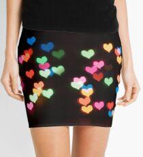 Abstract Bokeh shapes lovely love hearts Mini Skirt