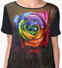 Rainbow Dream Rose Chiffon Top