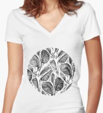 Jungle - Tropical leaves Women's Fitted V-Neck T-Shirt