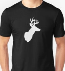 Stag Deer Head with Antlers Black and White T-Shirt