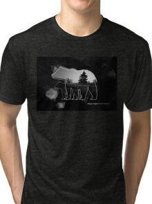 "Creative photo poster with double exposure with line icon of bear and text ""always respect Mother Nature"". Dark forest in the middle on the low poly black background. Tri-blend T-Shirt"