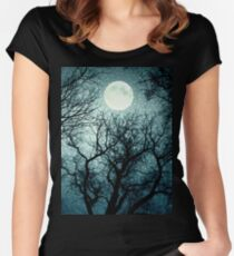 Dark enchanted photo of a full moon in the trees branches background. Blue fairy-tale colors Women's Fitted Scoop T-Shirt