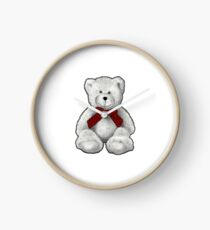 Smiling Teddy Bear, Pencil Drawing, Red Neck Tie Clock
