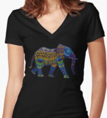 Colorful Elephant Women's Fitted V-Neck T-Shirt