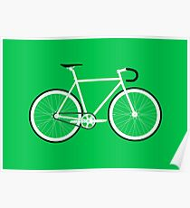 Green Fixed Gear Road Bike Poster
