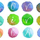 Hand-Painted Watercolor Circles Colorful Rainbow by Beverly Claire Kaiya