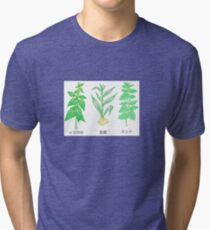 Plants with Japanese Labels Tri-blend T-Shirt