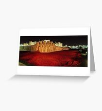 Poppies at the Tower of London -  Night Panorama Greeting Card