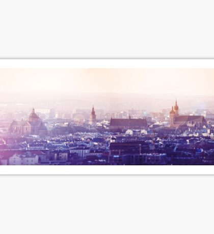 Panoramic view of Old City in Cracow at the sunset Sticker