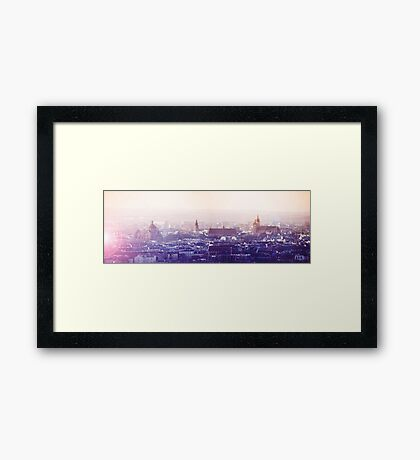 Panoramic view of Old City in Cracow at the sunset Framed Print