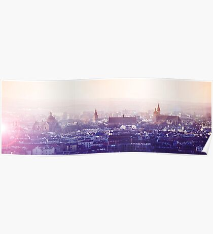 Panoramic view of Old City in Cracow at the sunset Poster